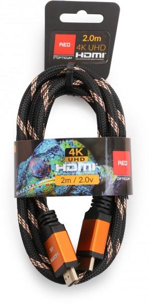 Kabel HDMI-HDMI Opticum RED 4K UHD - 2m (v2.0)