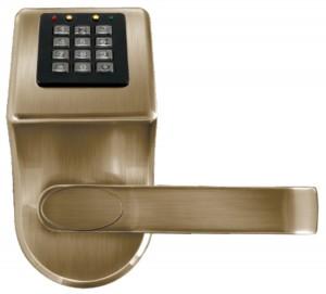 KLAMKA EURA ELH-70B9/BRASS z czytnikiem kart RFID i zamkiem szyfr. mosiądz