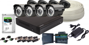 Zestaw 4w1, 4x Kamera 5Mpx/IR20, Rejestrator 4ch + Dysk 1TB