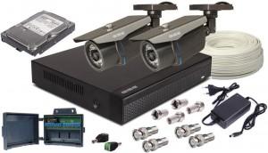 Zestaw AHD, 2x Kamera HD/IR35, Rejestrator 4ch + 1TB