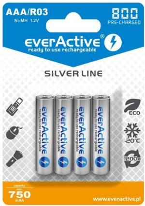 "Akumulatorki AAA / R03 everActive Ni-MH Ni-MH 800 mAh ready to use ""Silver line"" (box 4szt)"