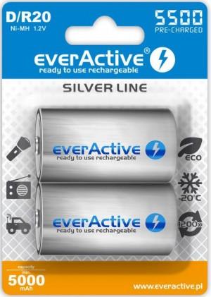 "Akumulatorki D / R20 everActive Ni-MH Ni-MH 5500 mAh ready to use ""Silver line"" (box 2 szt)"