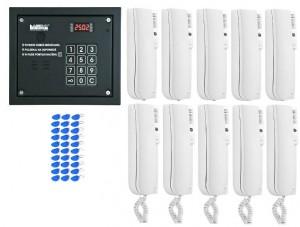 Laskomex system domofonu 10 lokatorów, 1 wejście, czytnik rfid.