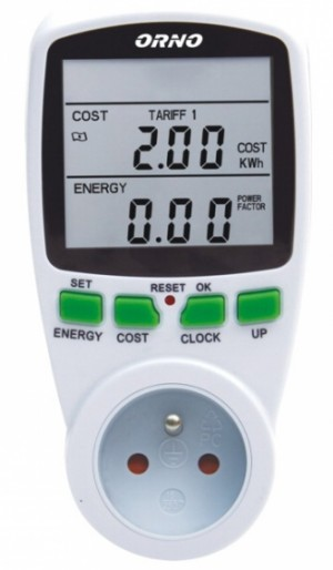 Watomierz licznik energii 2-taryfowy do gniazdka ORNO OR-WAT-408