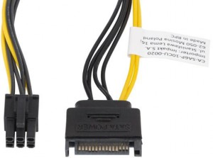 KABEL ZASILAJĄCY WEWNĘTRZNY SATA(M) -> PCI EXPRESS(M) 6 PIN 20CM
