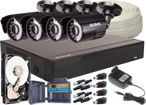 Zestaw 4w1, 4x Kamera 5Mpx/IR20, Rejestrator 4ch + Dysk 2TB