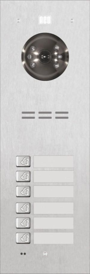 ACO FAM-PV-6NPACC Panel cyfrowy Familio PV z 6 przyciskami izamkiem szyfrowym, wbudowanym czytnikiembreloków zbliżeniowych, podtynkowy, stal nierdzewna