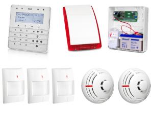 Zestaw alarmowy SATEL Integra 24, Klawiatura sensoryczna, 3 czujniki ruchu, 2 czujniki dymu, sygnalizator zewnętrzny SP-4003
