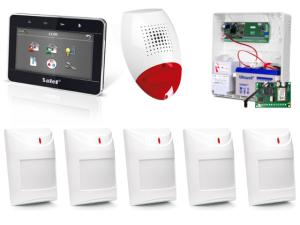 Zestaw alarmowy SATEL Integra 24, Klawiatura dotykowa, 5 czujek, sygnalizator zewnętrzny, powiadomienie SMS