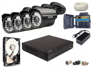 Zestaw AHD, 4x Kamera HD/IR20, Rejestrator 4ch + 500GB