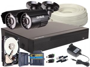 Zestaw 4w1, 2x Kamera 5Mpx/IR20, Rejestrator 4ch + Dysk 1TB