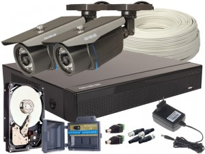 Zestaw 4w1, 2x Kamera FULL HD/IR30, Rejestrator 4ch, HDD 1TB