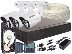 Zestaw 4w1 3x Kamera FULLHD/IR25m, Rejestrator 4ch + HDD 500GB