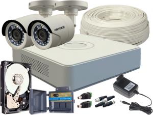 ZESTAW HD-TVI 2 x KAMERA FULLHD, REJESTRATOR 4CH + DYSK 500GB