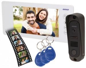 """Wideodomofon OR-VID-JS-1053/W Pamięć + Breloki ARCUS RFID 7"""" ORNO biały"""