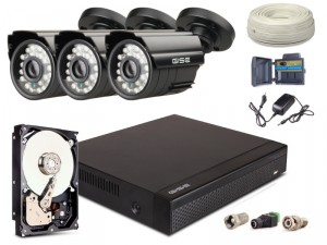 Zestaw AHD, 3x Kamera HD/IR20, Rejestrator 4ch + 1TB