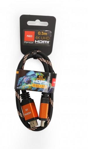 Kabel HDMI-HDMI Opticum RED 4K UHD - 0.5m (v2.0)