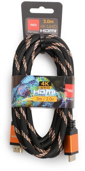 Kabel HDMI-HDMI Opticum RED 4K UHD - 3m (v2.0)