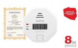 """CZUJNIK CZADU """"EURA"""" CD-82B8 8 lat gwarancji, bateryjny, DC 3V, LCD"""