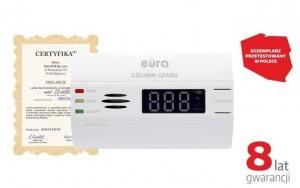 """CZUJNIK CZADU """"EURA"""" CD-80B8 8 lat gwarancji, bateryjny, wyświetlacz LCD"""