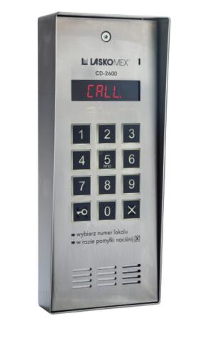 Laskomex CD-2600R audio z czytnikiem kluczy RFID ze stali nierdzewniej, w obudownie natynkowej.