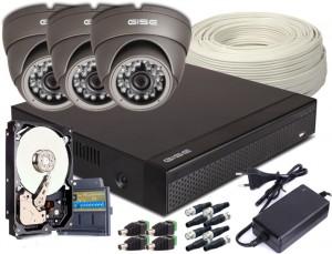 Zestaw 4w1, 3x Kamera HD/IR20, Rejestrator 4ch + 1TB