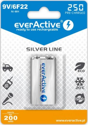 "Akumulatorek everActive 6F22/9V Ni-MH 250 mAh ready to use ""Silver line"""