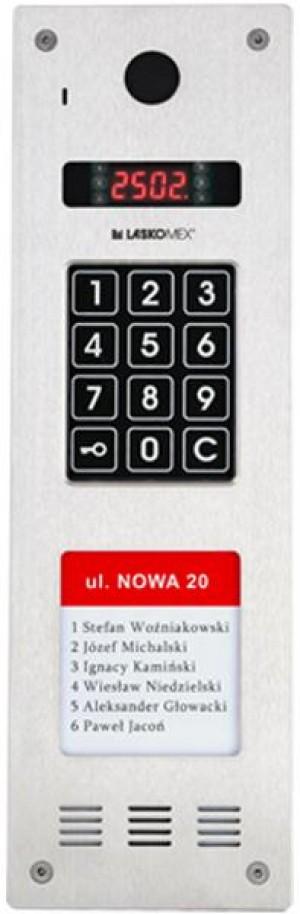 Laskomex CP-2533NR-4 Wąski panel audio pionowy, ze stali nierdzewnej, z czytnikiem RFID i DŁUŻSZĄ listą lokatorów (kompatybilny z modułem KAM3-1)
