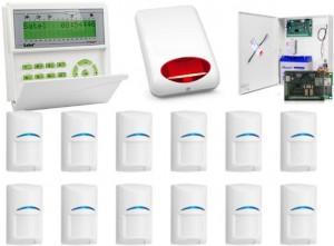 Zestaw alarmowy SATEL Integra 64 LCD, 12 czujek ruchu, sygnalizator zewnętrzny, powiadamianie GSM