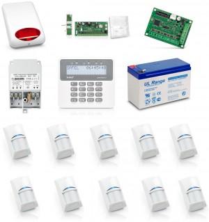 Zestaw alarmowy SATEL PERFECTA 16, Klawiatura LCD, 10 czujników ruchu, sygnalizator zewnętrzny, powiadomienie GSM