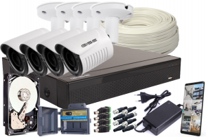Zestaw AHD, 4x Kamera FULL HD/IR25, Rejestrator 4ch + 1TB