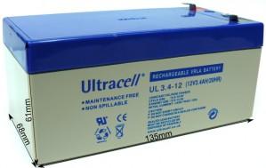 "Akumulator AGM ULTRACELL UL 12V 3.4AH ""żelowy"""