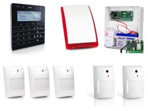 Zestaw alarmowy SATEL Integra 24, Klawiatura sensoryczna, 5 czujek, sygnalizator zewnętrzny, powiadomienie SMS