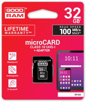 KARTA PAMIĘCI microSD GOODRAM UHS1 CL10 32GB + ADAPTER 100MB