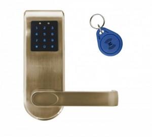 KLAMKA EURA ELH-82B9/BRASS z czytnikiem kart RFID i zamkiem szyfr, sterowanie zdalne, mosiądz