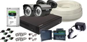 Zestaw 4w1, 2x Kamera HD/IR20, Rejestrator 4ch, HDD 1TB