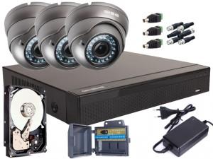 Zestaw 4w1, 3x Kamera FULL HD/IR35, Rejestrator 4ch, HDD 1TB