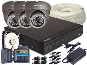 Zestaw 4w1, 3x Kamera HD/IR20, Rejestrator 4ch + 500GB