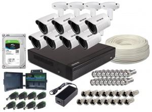 Zestaw 4w1, 8x Kamera FULL HD/IR25, Rejestrator 8ch, HDD 1TB